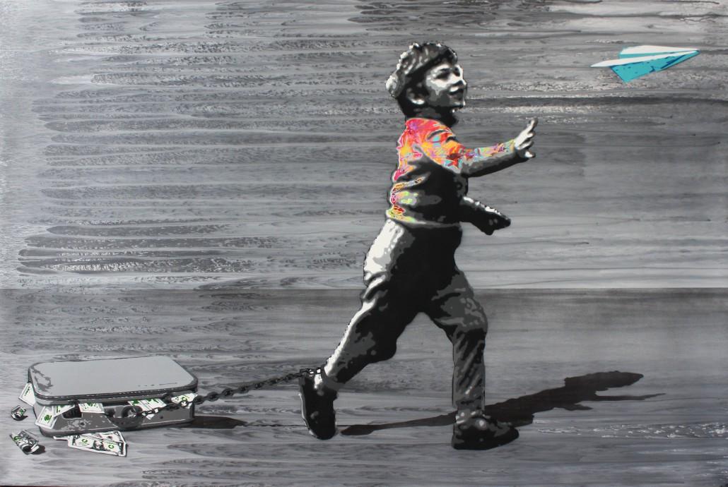 kurar-MONEY DOESN T MAKE THE HAPPINESS stencil on canvas 146x97