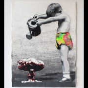 kurar-Somebody to save People 7-8 original all hand made stencil on paper 300G 55x76